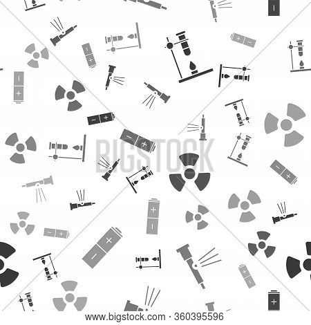 Set Glass Test Tube Flask On Fire Heater, Telescope, Radioactive And Battery On Seamless Pattern. Ve