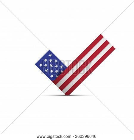 American Flag Check Mark. The Us Presidential Election 2020. American Flag Colors. Vector Illustrati