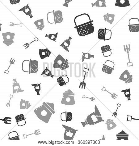 Set Shopping Basket, Bag Of Flour, Garden Rake And Bag Of Flour On Seamless Pattern. Vector