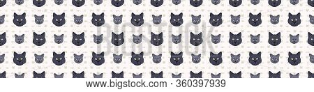 Cute Cartoon British Shorthair Cat And Kitten Face Seamless Border Pattern. Pedigree Kitty Breed Dom