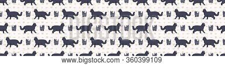 Cute Cartoon British Shorthair Cat And Kitten Seamless Border Pattern. Pedigree Kitty Breed Domestic