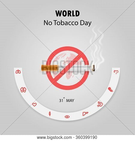 World No Tobacco Day Infographic Background Design.world No Smoking Day Typographical Design Element