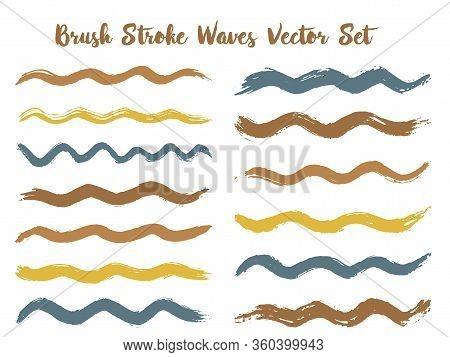 Retro Brush Stroke Waves Vector Set. Hand Drawn Brown Brushstrokes, Ink Splashes, Watercolor Splats,