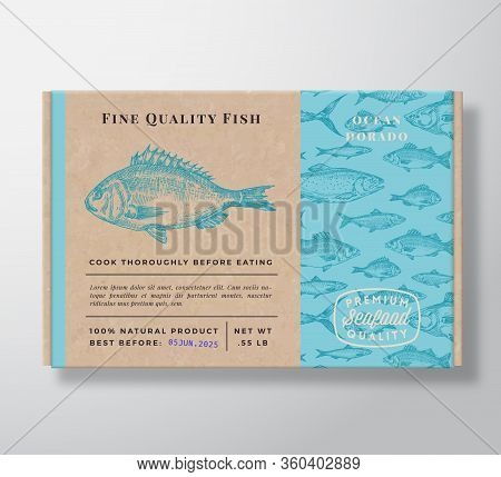 Fish Pattern Realistic Cardboard Container. Abstract Vector Seafood Packaging Design Or Label. Moder