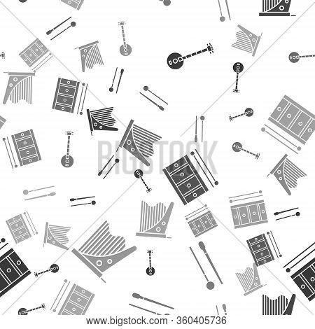 Set Banjo, Drum Sticks, Drum With Drum Sticks And Harp On Seamless Pattern. Vector