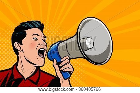 Businessman Shouting Loudly Into Loudspeaker. Retro Comic Pop Art Vector Illustration