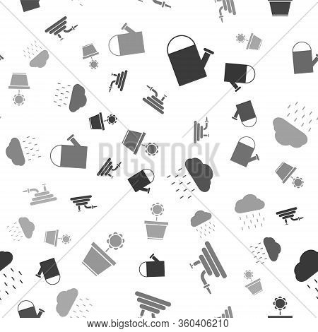 Set Watering Can, Garden Hose Or Fire Hose, Cloud With Rain And Flower In Pot On Seamless Pattern. V