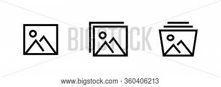 Set Of Picture Album Icon. Editable Vector Outline.