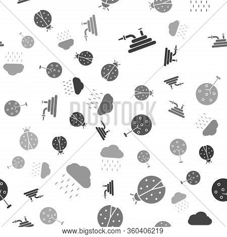 Set Garden Hose Or Fire Hose, Ladybug, Tree And Cloud With Rain On Seamless Pattern. Vector
