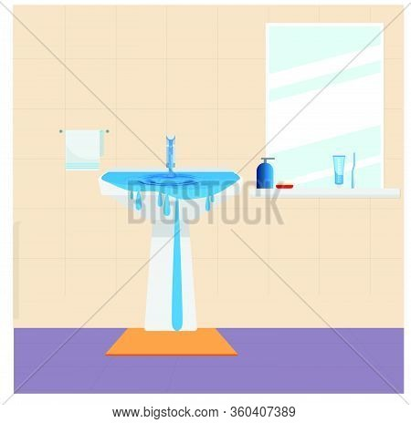 Wastage Of Water Theme. Wastage Of Water From Running Tap As Sink Is Overflow With The Water. Wastag