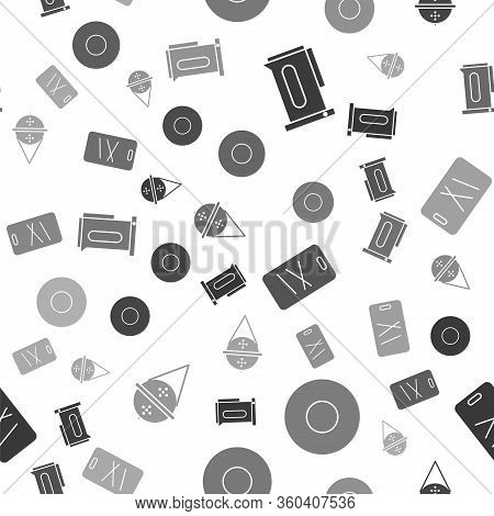 Set Kettle With Handle, Plate, Cutting Board And Ball Tea Strainer On Seamless Pattern. Vector