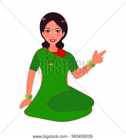Indian Women Character Design. Women Sitting In A Ground And Wearing Traditional Saree In Village. V