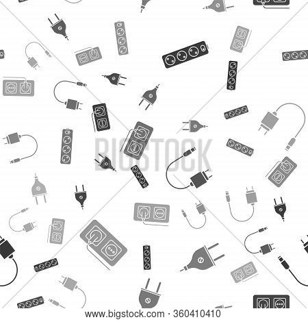 Set Electric Extension Cord, Electric Plug, Charger And Electrical Outlet On Seamless Pattern. Vecto