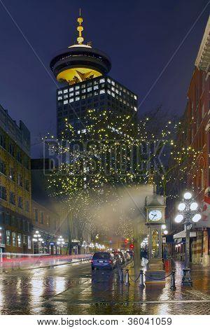 Vancouver Bc Gastown Rainy Night