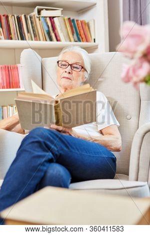 Retired senior citizen sitting in the armchair in her senior citizen apartment reading a book