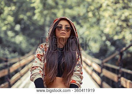 R&b Hip Hop Pop Singer. Closeup Portrait Head Shot Beautiful Pretty Teenager Brunette Young Woman  H