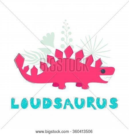 Cute Dinosaur Color Hand Drawn Vector Character. Dino Flat Handdrawn Clipart. Sketch Jurassic Reptil