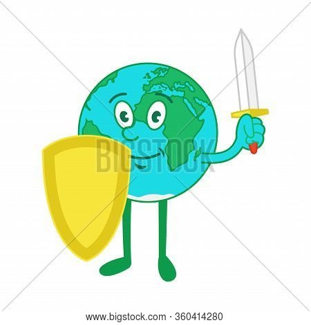 Cartoon Character Of Cute Friendly Planet, Blue Earth With Gold Shield For Protection Itself And Swo