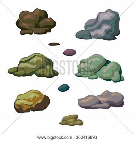 Set Of Different Stone. Stones And Rocks In Isometric 3d Flat Style. Mountain Rocks And Pile Of Ston