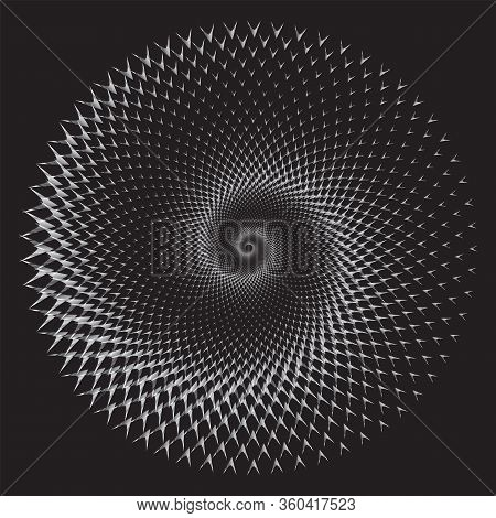 Dotted Halftone Vector Spiral Color Pattern Or Texture. Stipple Dot Backgrounds With Triangles
