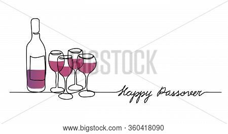Wine Bottle And Four Wine Glasses Vector Illustration. Happy Passover, Jewish Holiday Pesach. One Co