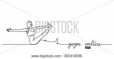 Yoga Online Lettering. Vector Web Banner With Woman Illustration. Join Button. Simple Yoga Backgroun