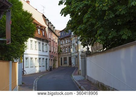 Empty Ancient Street  With Colorful Traditional Houses In  Old Town Bamberg Is Unesco World Heritage