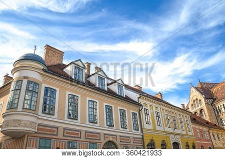 The Beautiful Historical Buildings In Budapest, Hungary. National Archives Of Hungary Building In Th
