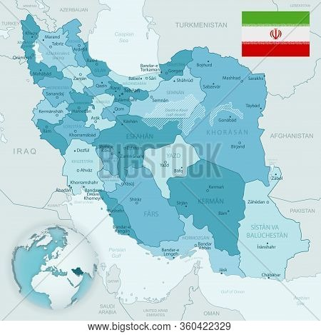 Blue-green Detailed Map Of Iran And Administrative Divisions With Country Flag And Location On The G