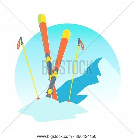Snow Skiing Round Illustration In Cartoon Style. Ski Resort Banner Isolated Vector. Snowy Mountain L