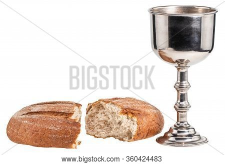 Holy Communion Chalice With Wine And Bread Isolated On White Background.
