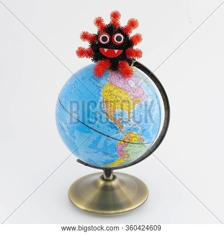 Earth Globe With Coronavirus On White Background