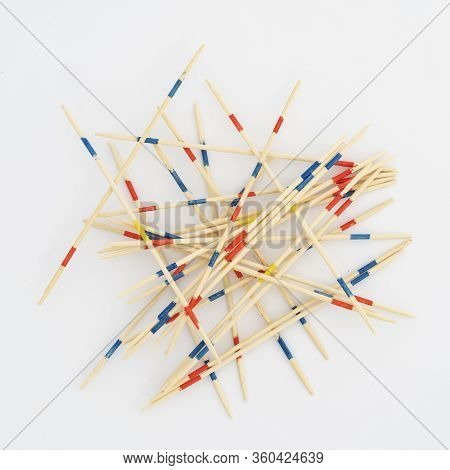 Mikado, View Of Wooden Sticks Against White Background