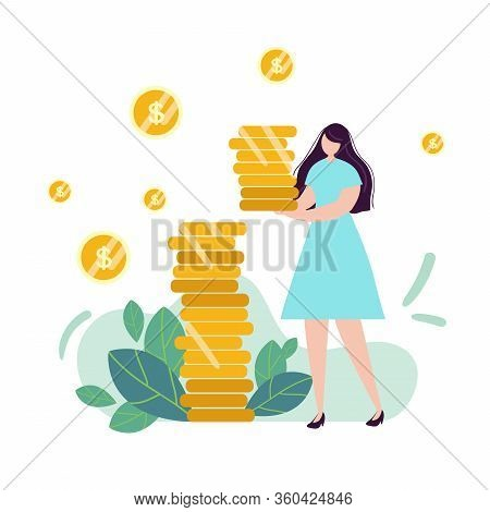 Girl Girl Holds Coins. Savings And Investing Money. Finance, Investment. Woman Take Money. For Jar M