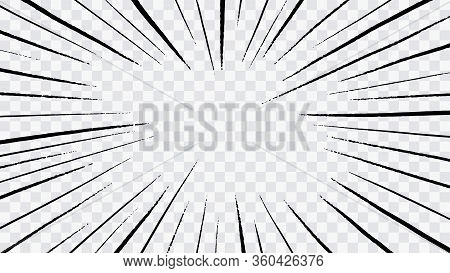 Abstract Comic Book Flash Explosion Radial Lines On Transparent Background. Vector Illustration Supe