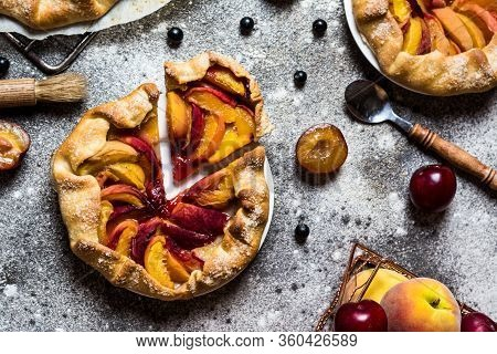 Summer Galette With Berries, Raspberry, Blueberry, Blackberry, Apple And Crusty Sugar Vegetarian Dou