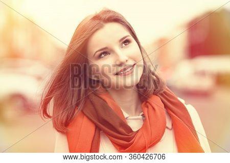 Woman Happy. Closeup Portrait Headshot Of Beautiful Smiling Toothy Sunshine Girl Student Cityscape O