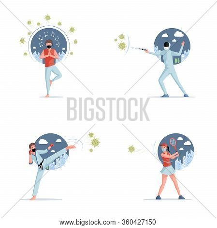 Stop Covid-19 Vector Flat Illustration. People In Protective Masks Fighting With Coronavirus And Liv