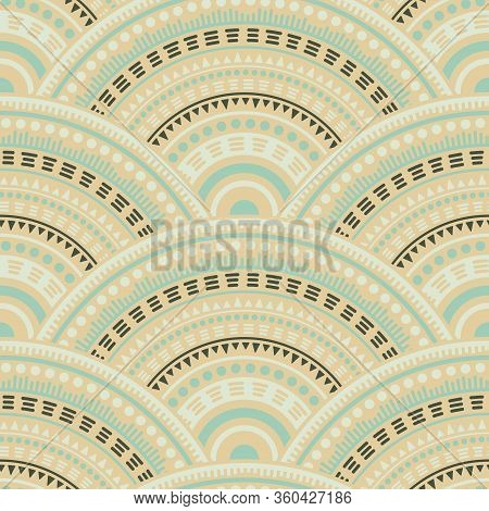 African Overlapping Circles Textile Ornament Vector Seamless Pattern. Tribal Motifs Decorative Repea