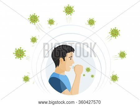 Man Infected With Coronavirus Coughs Vector Flat Illustration. Young Man Sick With Covid-19 And Surr
