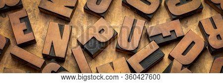 vintage letterpress wood type printing blocks, letters on handmade bark paper, panoramic web banner, craftsmanship concept