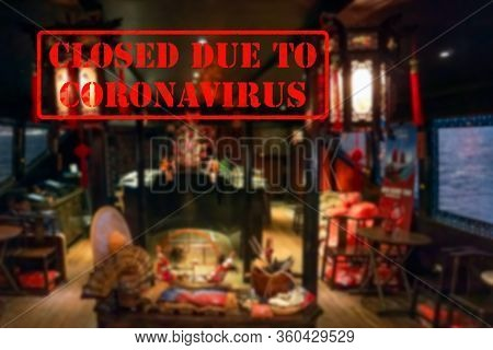 Defocused, Blurred View Of Interior Of An Upmarket Cafeteria Or Coffee Shop, Empty And Closed Due To