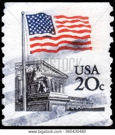 Saint Petersburg, Russia - April 01, 2020: Postage Stamp Issued In The United States With The Image