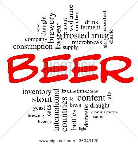 Beer Word Cloud Concept In Red And Black