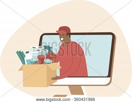 Online Grocery Shopping And Fast Delivery Concept. Instant Shipping. Courier Give Cardboard Box With