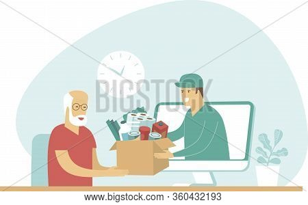 Online Grocery Shopping And Fast Delivery For Elderly People During Covid-19 Quarantine. Instant Shi