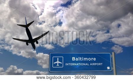 Airplane Silhouette Landing In Baltimore, Maryland, Usa. City Arrival With International Airport Dir