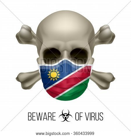 Human Skull With Crossbones And Surgical Mask In The Color Of National Flag Namibia. Mask In Form Of