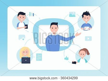 Online Distance School. Teacher And Students. Blended And Flipped Learning Education Concept Vector