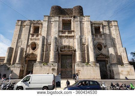 Catania, Sicily - February 12, 2020: Chiesa Di San Nicolo Arena Catholic Church In Catania, Sicily,